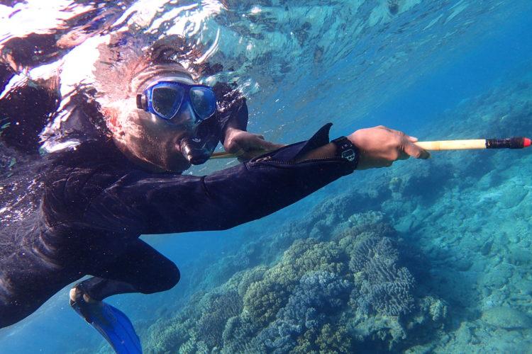 アメリカから沖縄へハネムーンモリ突き漁体験